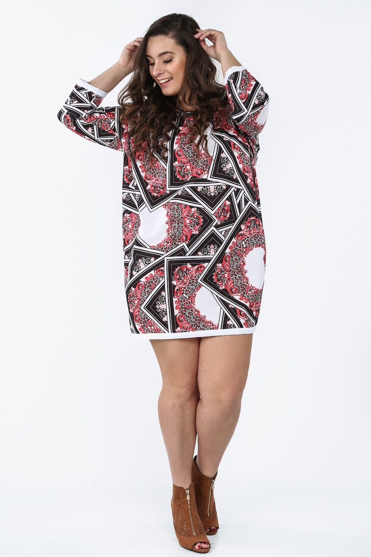 c0a3ba4ad896 Sukienka Plus Size we wzory na co dzień czerwona Sklep Internetowy Online