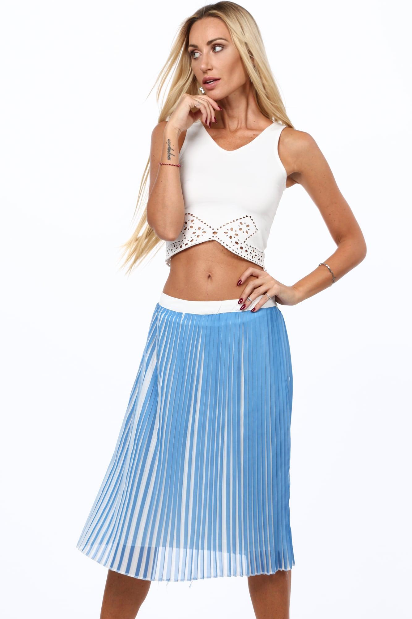 Plisovaná sukňa svetlomodrá