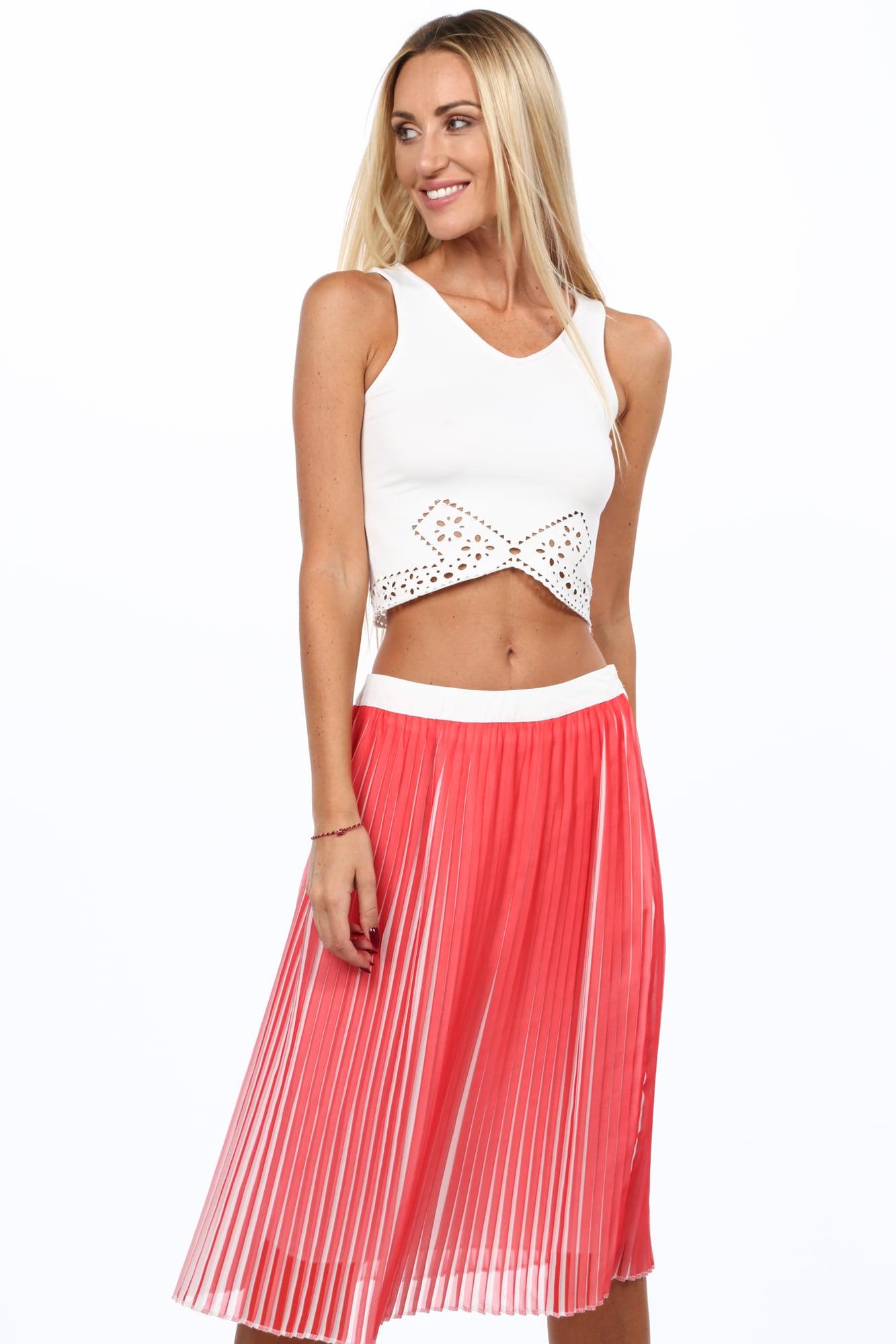 Plisovaná sukňa koralová