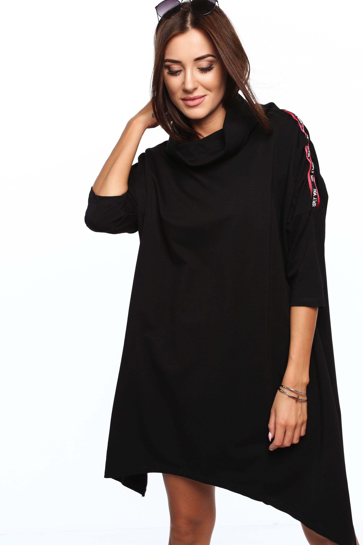 Asymetrické šaty s golfovým golierom čierne