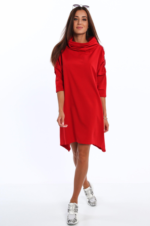 Asymetrické šaty s golfovým golierom červené