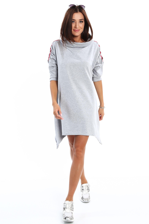 Asymetrické šaty s golfovým golierom šedé