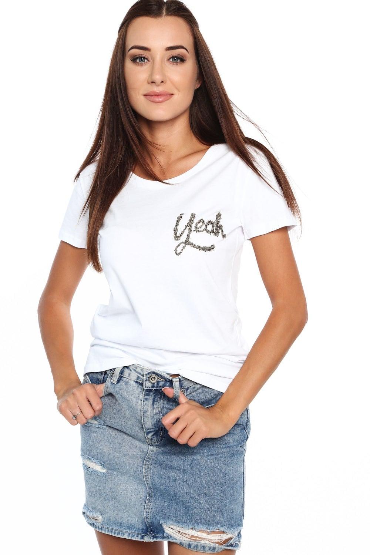 Bavlnené tričko s nadpisom biele