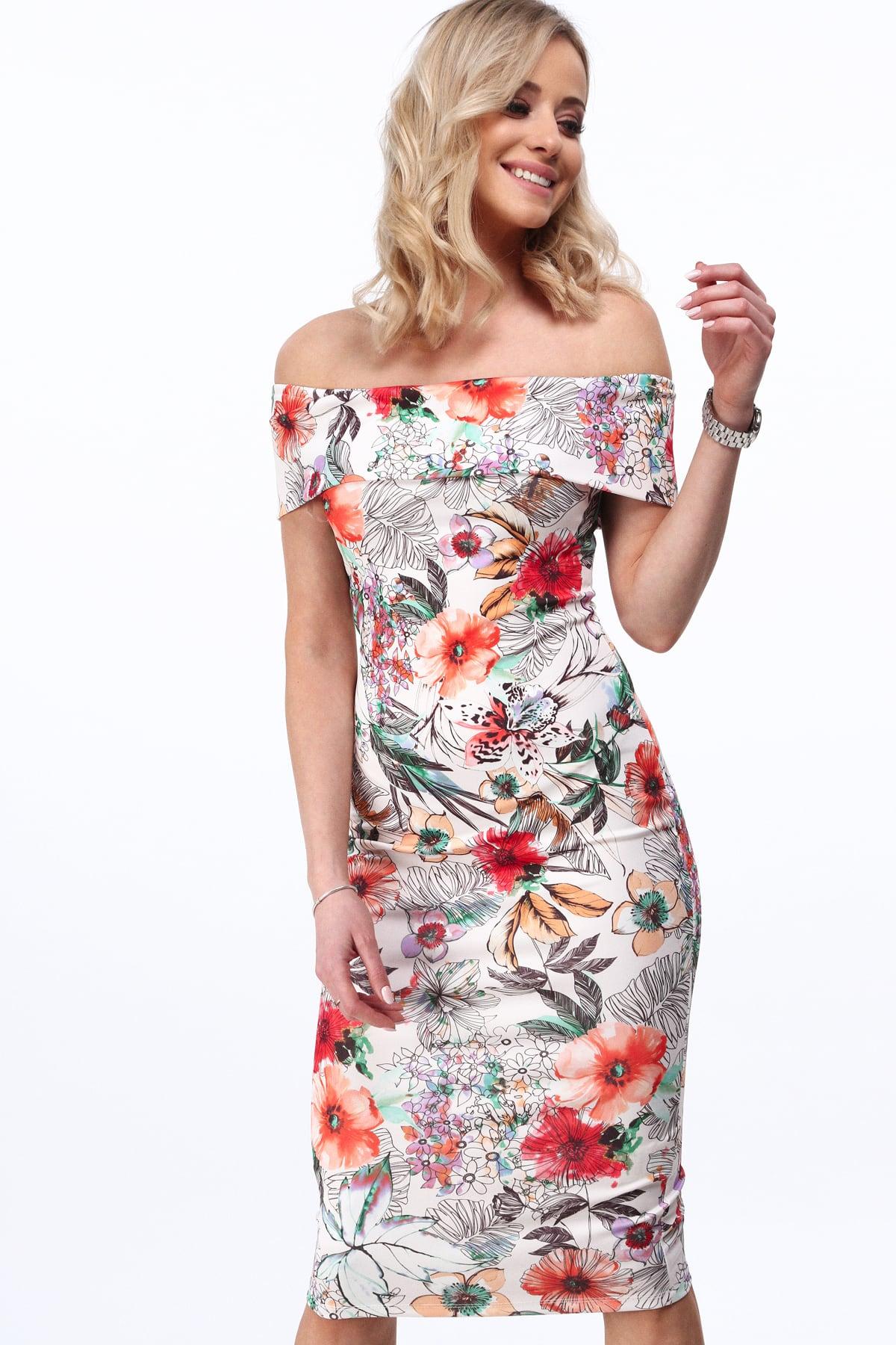 Elegantné šaty s červenými kvietkami