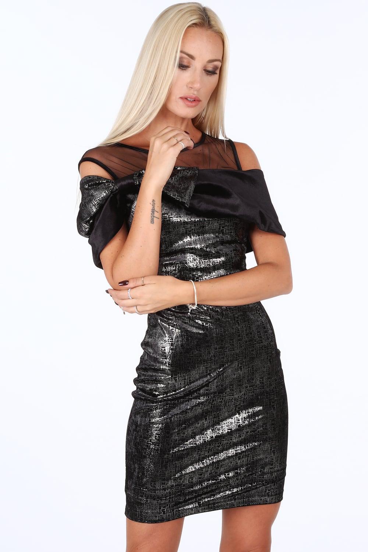 Šaty s leskom v čierno striebornej farbe
