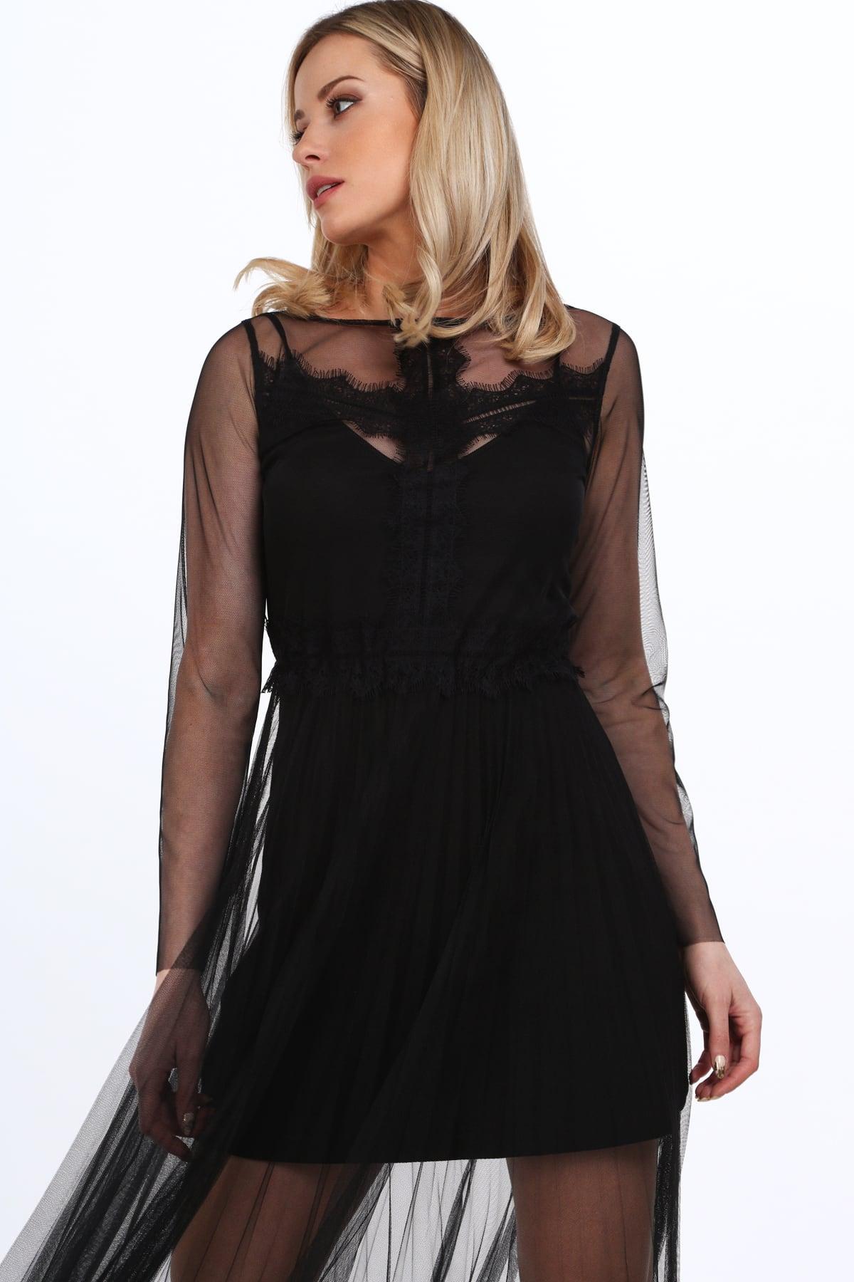 Čierne  transparentné tylové šaty