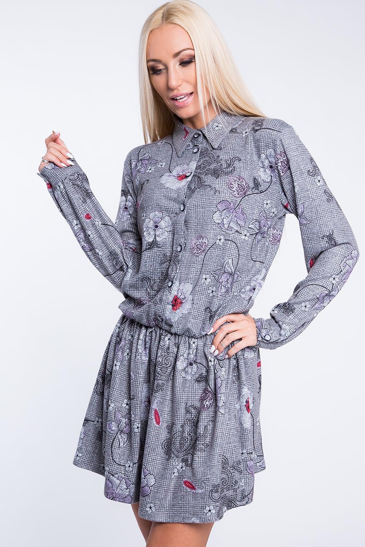 Šaty na gombíky svetlo sivé