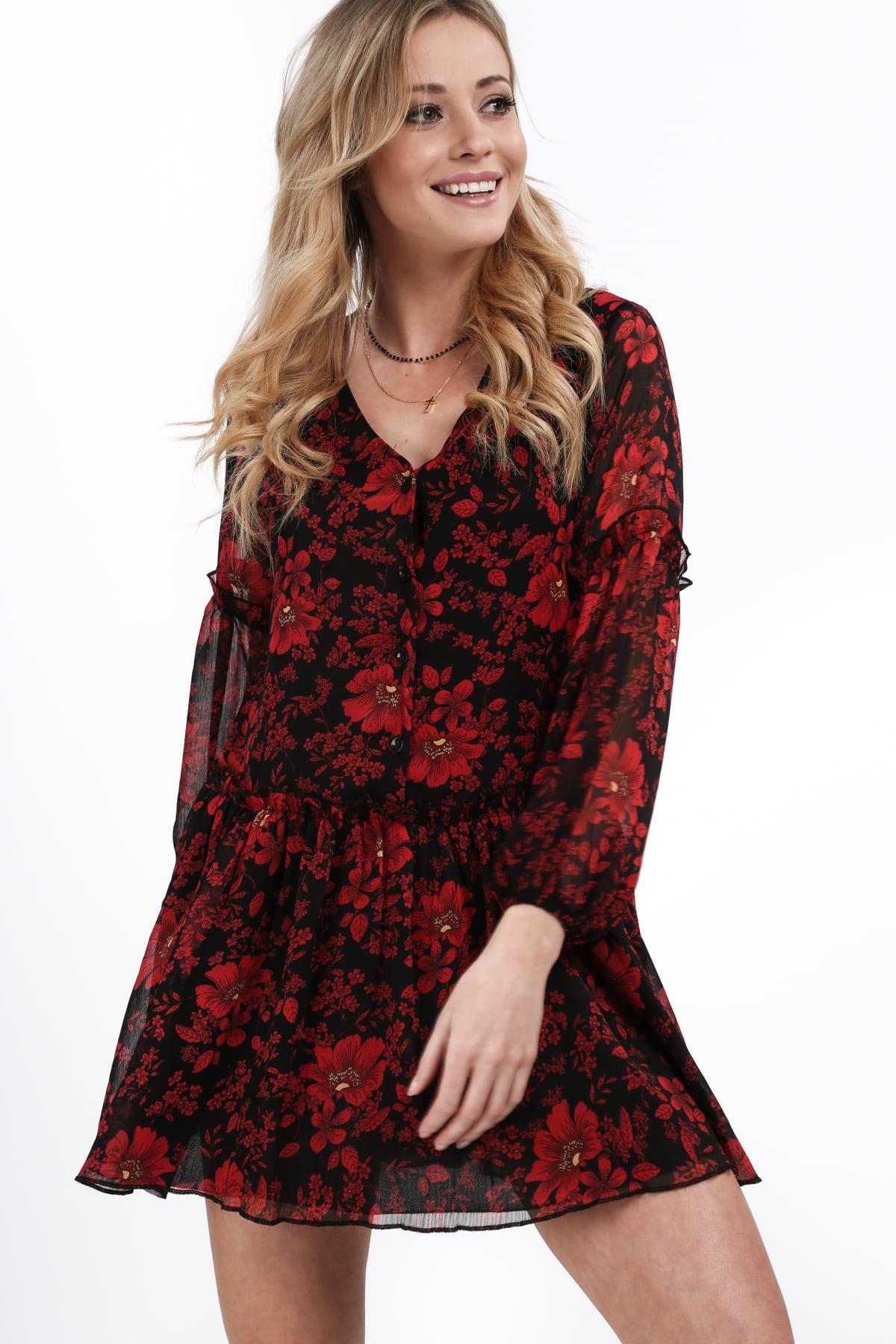 Vzdušné šaty s volánikom s červeno čiernom podtlačou