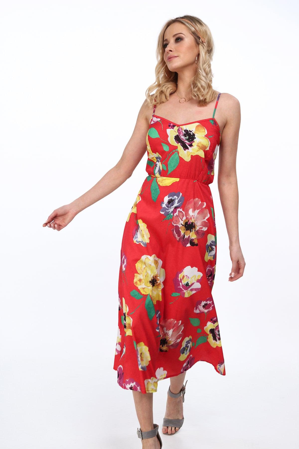 Červené letné kvetinové šaty