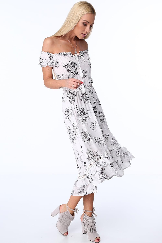 Kvetované šaty s odkrytými ramenami