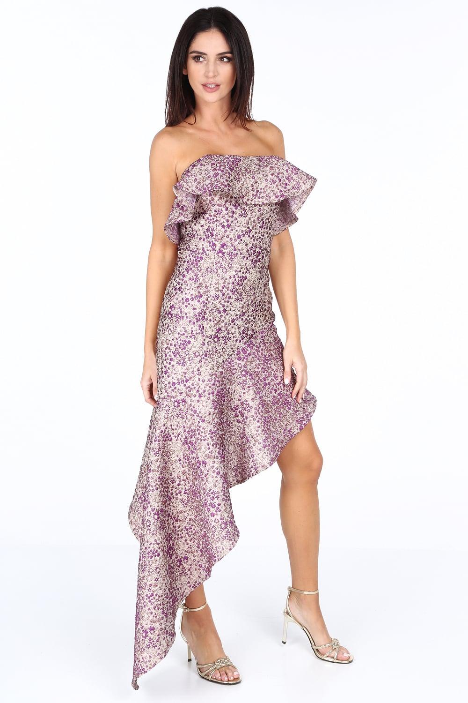 Šaty s asymetrickým strihom fialovo/zlate