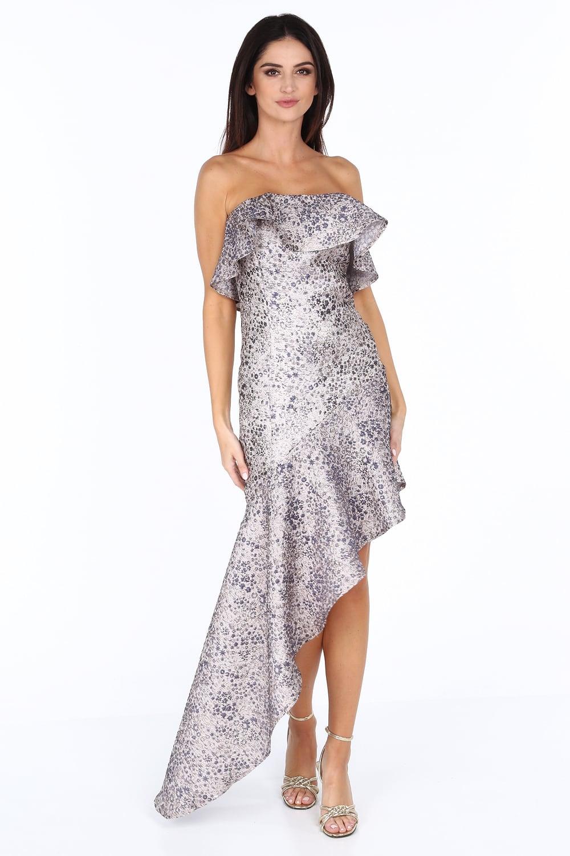 Šaty s asymetrickým strihom modro/strieborné