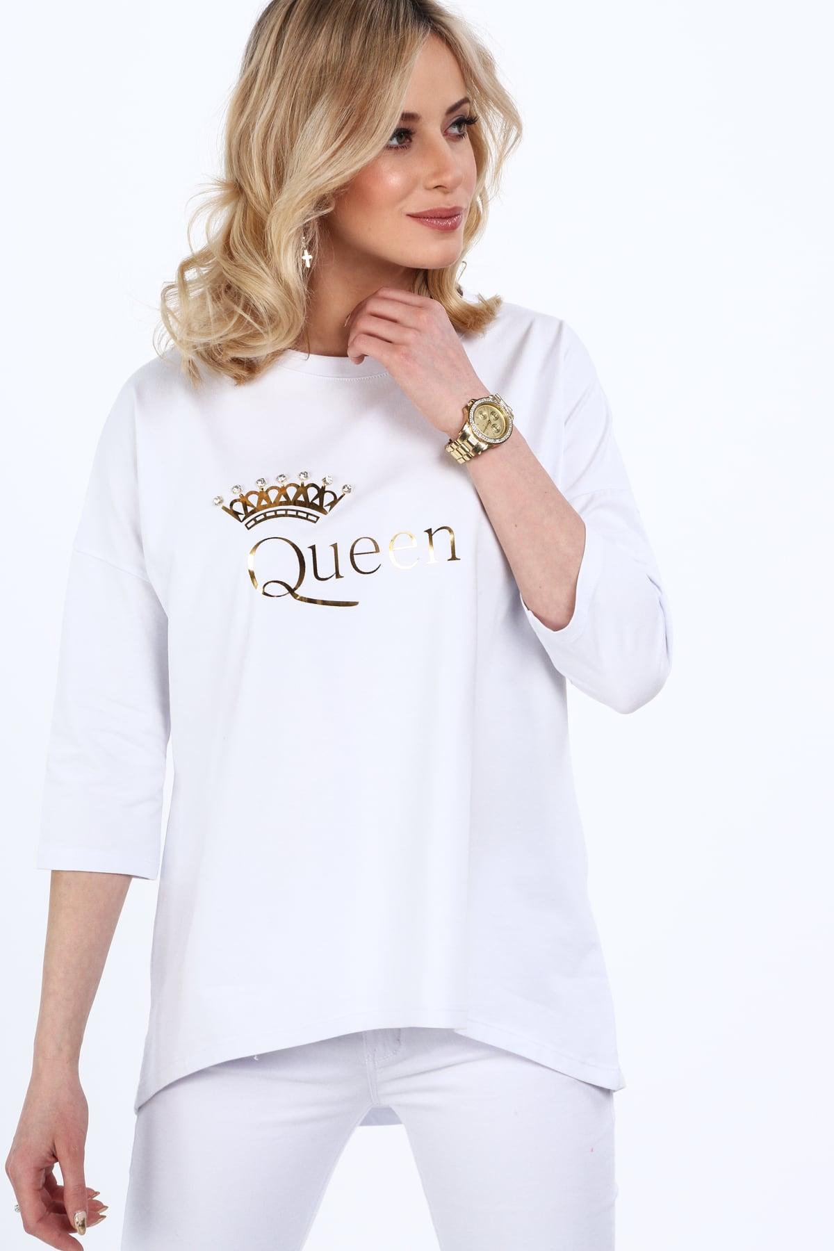 Biela tunika so zlatým nadpisom