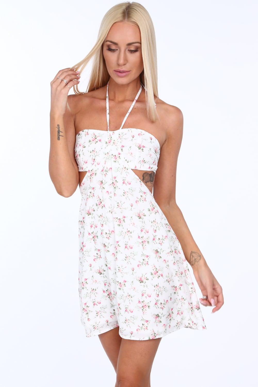 Kremové šaty kvetinové