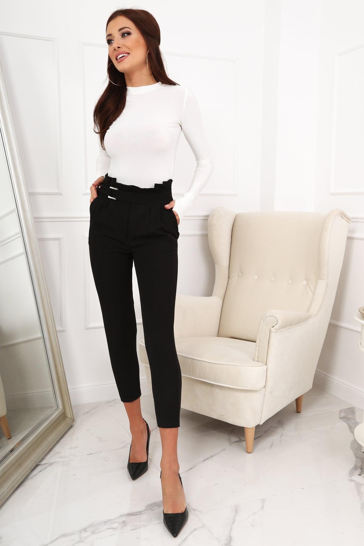 ab88417d26 Czarne eleganckie spodnie z wysokim stanem Sklep Internetowy Online