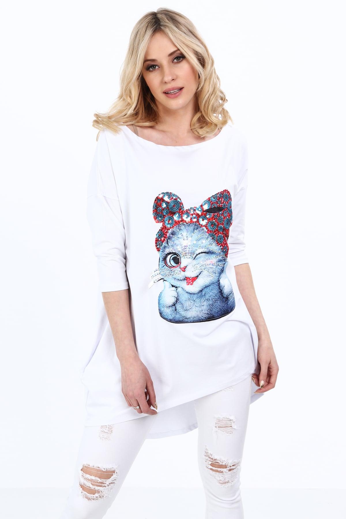 Biela tunika s mačkou