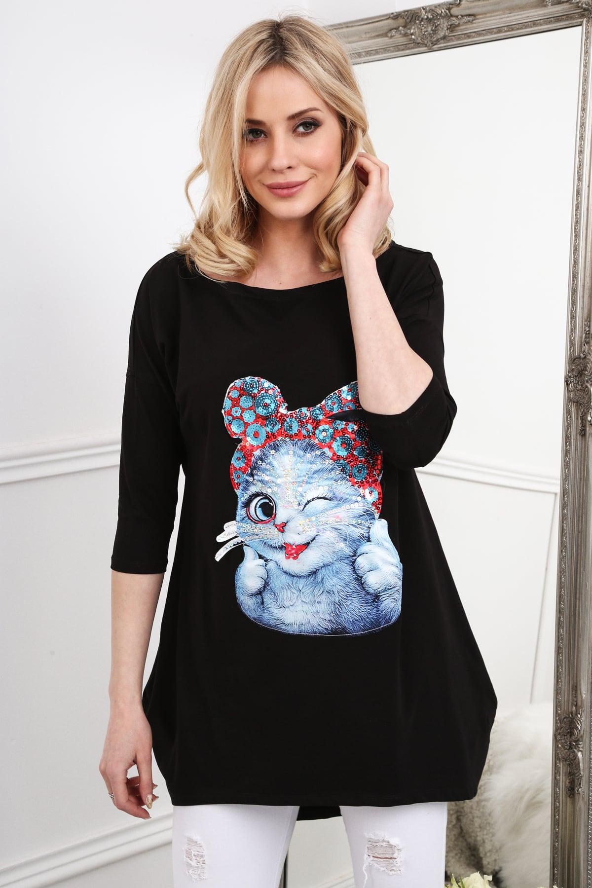 Čierna tunika s mačkou